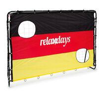 - Porteria de futbol con pared de gol para niños, 152 x 212 x 76 cm, 2 agujeros, marcos de metal, entranar tiros libres, Bandera de Alemania