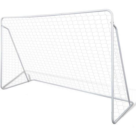 Portería de fútbol con poste y red acero 240x90x150 cm