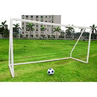 Portería fútbol 3x1,8 m portátil de plástico ABS blanca para niños, red incluida