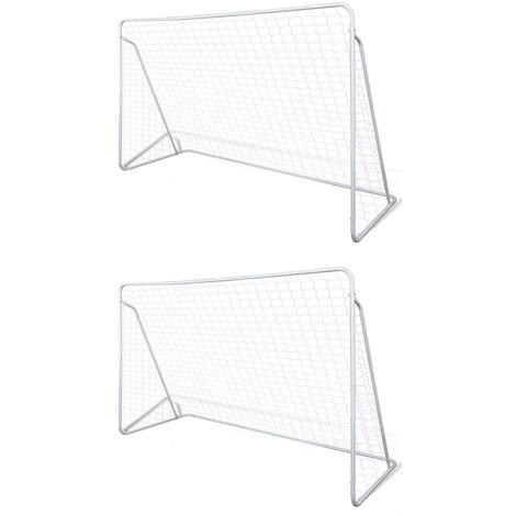 Porterías de fútbol de acero 2 unidades 240x90x150 cm