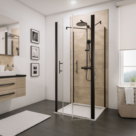 Portes de douche battantes en U avec deux parois latérales fixes, verre 5 mm transparent anticalcaire, profilé noir, style industriel, Schulte, dimensions aux choix