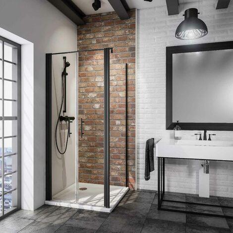 Portes de douche battantes + paroi de retour fixe, verre 5 mm anticalcaire, style atelier industriel, profilé noir, Schulte, dimensions au choix