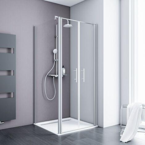 Portes de douche battantes + paroi de retour fixe, verre 5 mm transparent anticalcaire, profilé alu-argenté, Schulte, 90 x 90 x 193 cm - Transparent