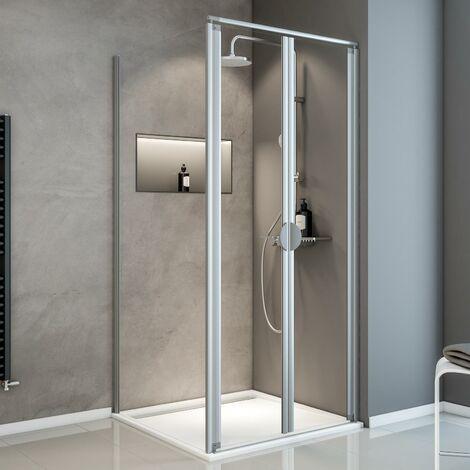 Portes de douche battantes + paroi de retour fixe, verre 5 mm transparent, Sunny ExpressPlus Schulte, profilé alu-nature