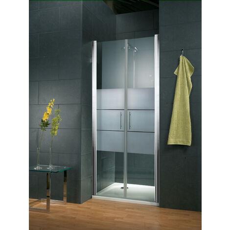 Portes de douche battantes, verre 5 mm, anticalcaire, décor sablé dépoli light, profilé aspect chromé, Style, Schulte, dimensions au choix