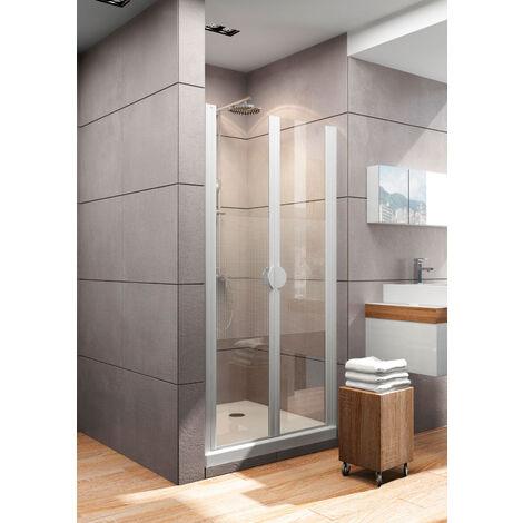 Portes de douche battantes, verre 5 mm anticalcaire, profilé alu nature, Décor Quattro, Schulte, 70 x 180 cm