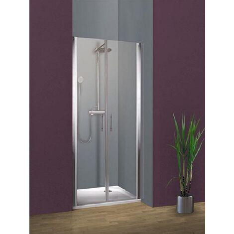 Portes de douche battantes, verre 5 mm anticalcaire, profilé aspect chromé, Style, Schulte, 2 dimensions au choix
