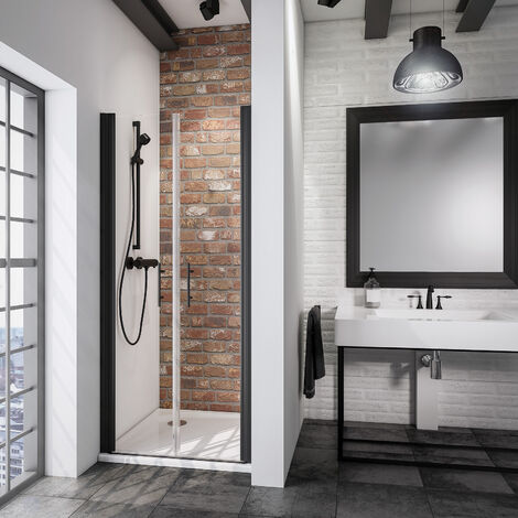 Portes de douche battantes verre 5 mm anticalcaire style atelier industriel profil noir - Dimension porte douche ...