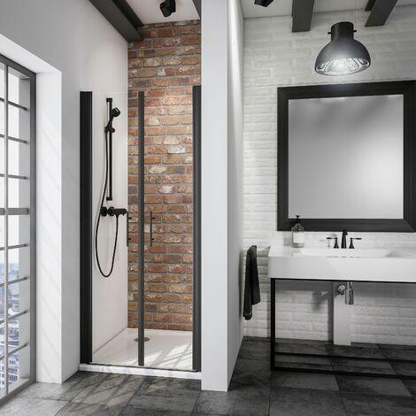 Portes de douche battantes, verre 5 mm anticalcaire, style atelier industriel, profilé noir, Schulte, dimensions au choix