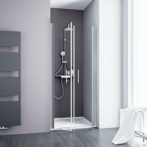 Portes de douche battantes, verre 5 mm transparent anticalcaire, profilé alu-argenté, Schulte, 90 x 192 cm - Transparent