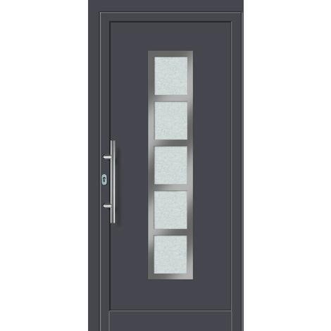 Portes d'entrée aluminium modèle 451A, intérieur: blanc, extérieur: titane