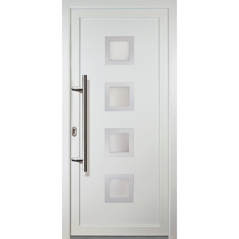 Portes d'entrée aluminium modèle 84, intérieur: blanc, extérieur: blanc
