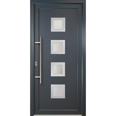 Portes d'entrée aluminium modèle 84, intérieur: titan, extérieur: titan