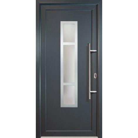 Portes d'entrée aluminium modèle 87, intérieur: titan, extérieur: titan