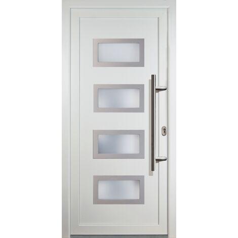 Portes d'entrée aluminium modèle 92, intérieur: blanc, extérieur: blanc