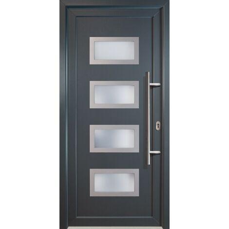 Portes d'entrée aluminium modèle 92, intérieur: titan, extérieur: titan