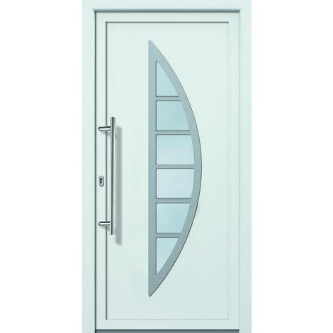 Portes d'entrée aluminium/PVC modèle 428, intérieur: blanc, extérieur: titane