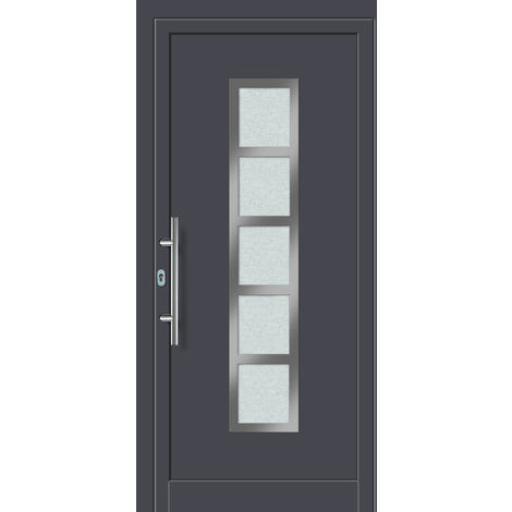 Portes d'entrée aluminium/PVC modèle 451, intérieur: titane, extérieur: titane
