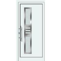 Portes d'entrée aluminium/PVC modèle 453, intérieur: blanc, extérieur: blanc