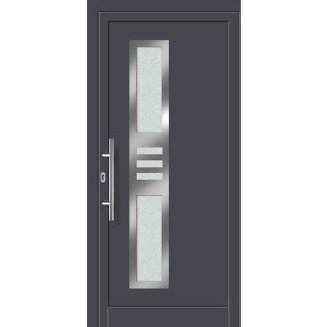 Portes d'entrée aluminium/PVC modèle 453, intérieur: titane, extérieur: titane