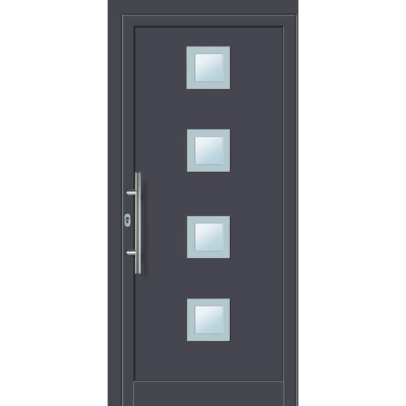 Portes D Entree Aluminium Pvc Modele 484 Interieur Titane Exterieur Titane