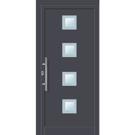 Portes D Entree Aluminium Pvc Modele 484 Interieur Titane Exterieur Titane Largeur 98cm Hauteur 200cm Sens D Ouverture Din Gauche 545684098020001
