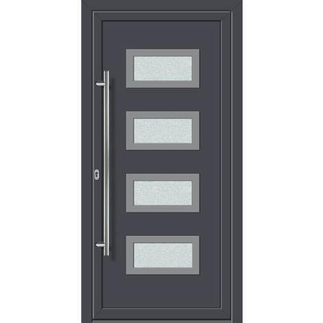 Portes d'entrée aluminium/PVC modèle 492, intérieur: titane, extérieur: titane