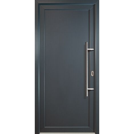 Portes d'entrée classique modèle 01, intérieur: blanc, extérieur: titan