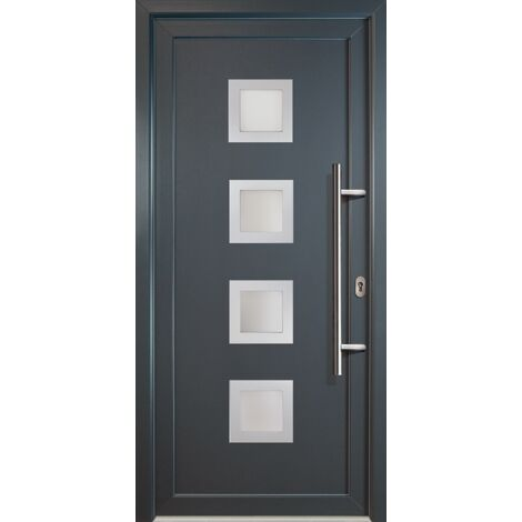 Portes d'entrée classique modèle C18, intérieur: blanc, extérieur: titane
