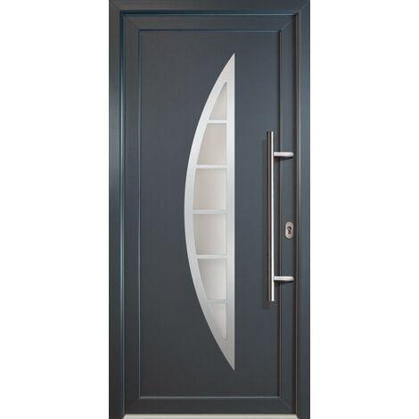Portes d'entrée classique modèle C23, intérieur: blanc, extérieur: titane