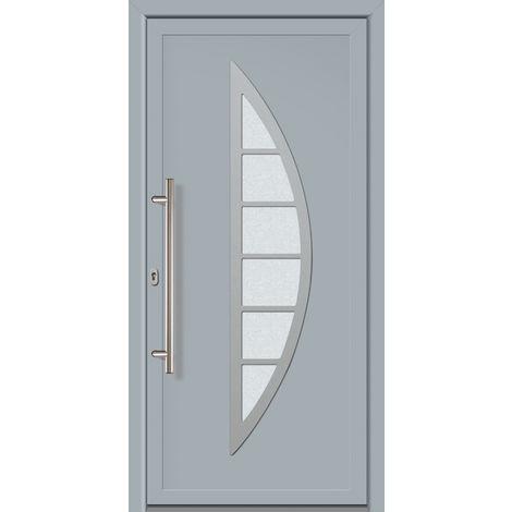 Portes d'entrée Exklusiv modèle 828, intérieur: blanc, extérieur: gris