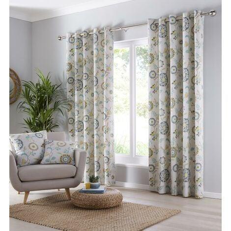 "Portfolio Charleston Teal 66x90"" Eyelet Curtains Fully Lined Ring Top Curtain Pair"