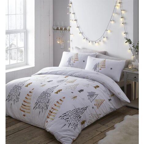 "main image of ""Portfolio Christmas Trees Single Duvet Cover Set Reversible Bedding Quilt"""
