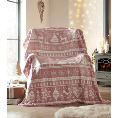 Portfolio Festive Nordic Scandi Blush Pink Sherpa Fleece Throw