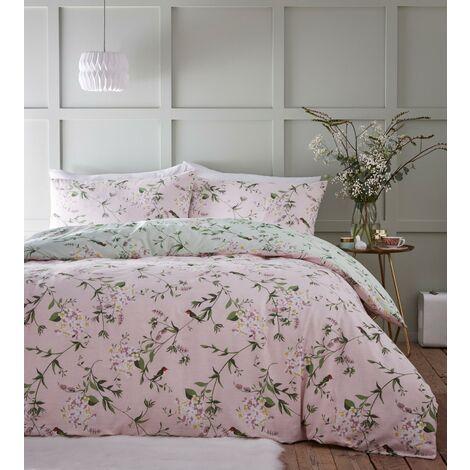 Portfolio Hummingbird Floral Pink Double Duvet Cover Set Reversible Bedding Bed Set
