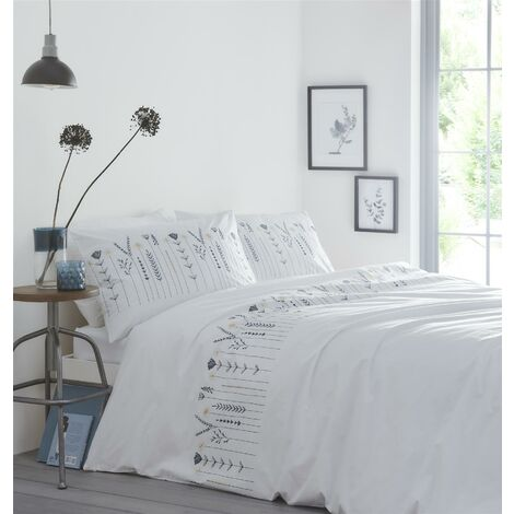 Portfolio Molly Teal/Natural Embroided Floral Double Duvet Cover Set Bedding Quilt