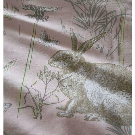 Portfolio Rabbit Meadow Blush King Size Duvet Cover Set Reversible Bedding Bed Set