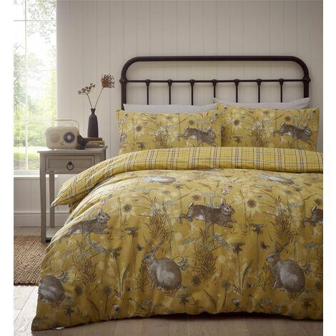 Portfolio Rabbit Meadow Ochre Double Duvet Cover Set Reversible Bedding