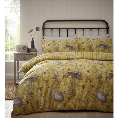 Portfolio Rabbit Meadow Ochre Single Duvet Cover Set Reversible Bedding