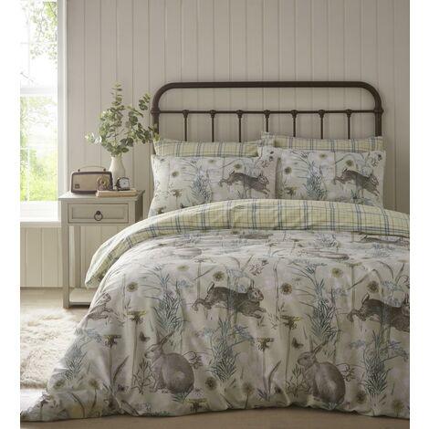 Portfolio Rabbit Meadow Sage Double Duvet Cover Set Reversible Bedding