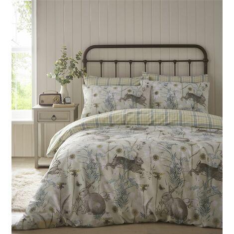 Portfolio Rabbit Meadow Sage King Size Duvet Cover Set Reversible Bedding