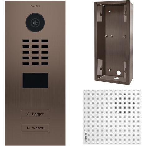 Portier vidéo IP 2 sonnettes bronze + Carillon et support - Doorbird - Bronze