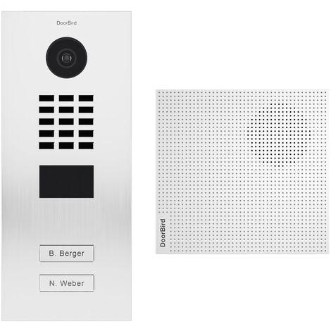Portier vidéo IP 2 sonnettes + Carillon - D2102V RAL 9016 KIT 1 Doorbird - Blanc