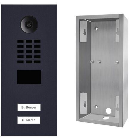 Portier vidéo IP 2 sonnettes D2102V Anthracite + Support de montage - Doorbird - Gris