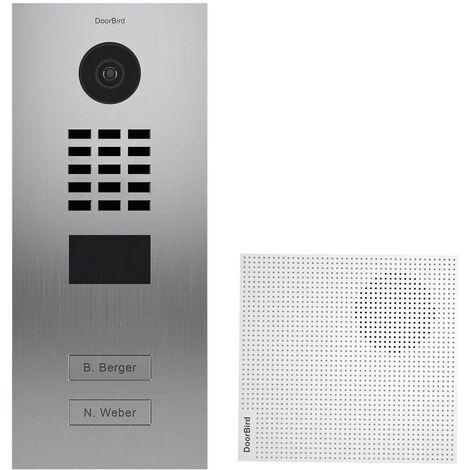 Portier vidéo IP 2 sonnettes D2102V Inox + Carillon - Doorbird - Inox