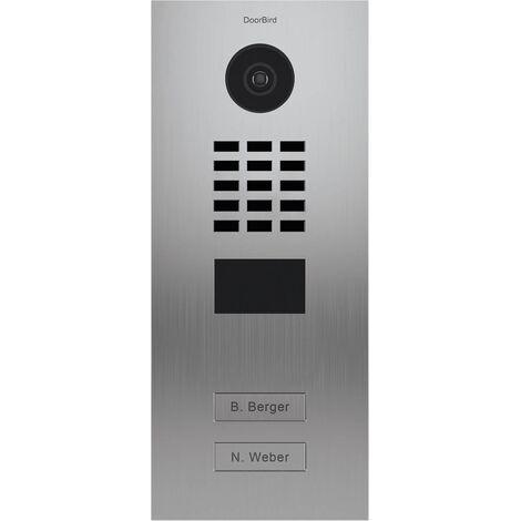 Portier vidéo IP 2 sonnettes D2102V Inox + Support de montage - Doorbird - Inox