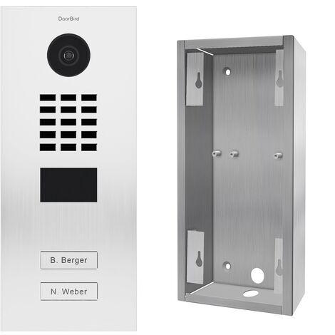 Portier vidéo IP 2 sonnettes + Support de montage - D2102V RAL 9016 KIT 2 Doorbird - Blanc