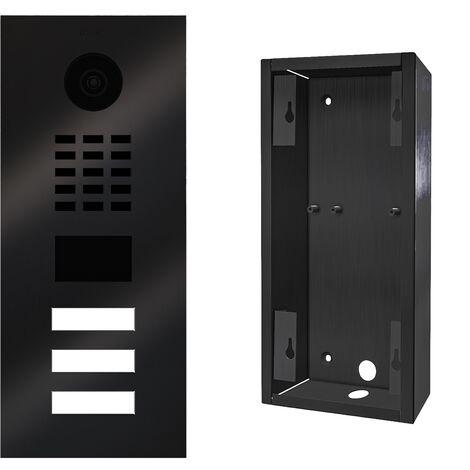 Portier vidéo IP 3 sonnettes + Support de montage - D2103V TITANE BR KIT 2 Doorbird - Noir