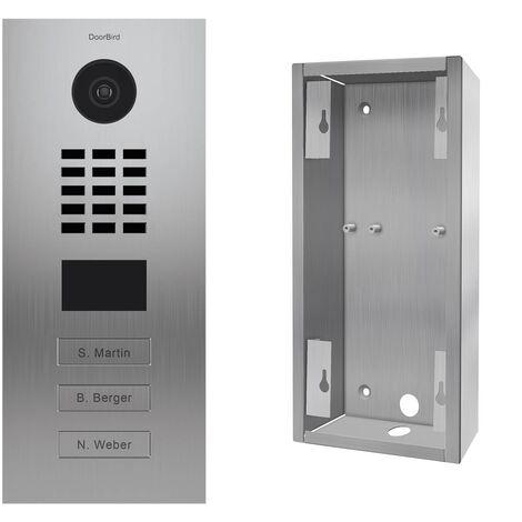Portier vidéo IP 3 sonnettes + Support - KIT D2103V + SUP-D2102V-D2103V Inox - Inox
