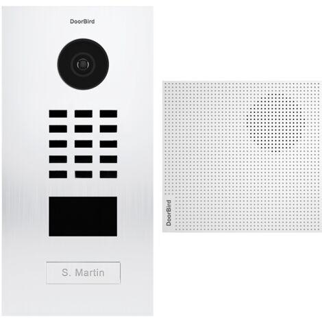 Portier vidéo IP lecteur de badge RFID + Carillon + Support de montage - D2101V RAL 9016 KIT 3 Doorbird - Blanc